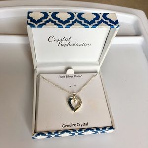Silver, blue sapphire heart necklace